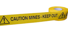 CAUTION MINES KEEP OUT barrier tape