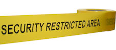 SECURITY RESTRICTED AREA barrier tape