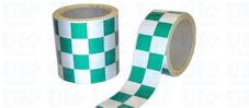 CHEQUERED Reflective Tape : green & white
