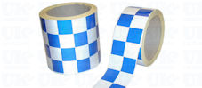 CHEQUERED Reflective Tape : blue & white